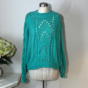 Topshop Chunky Knit Lime Green Pullover Sweater